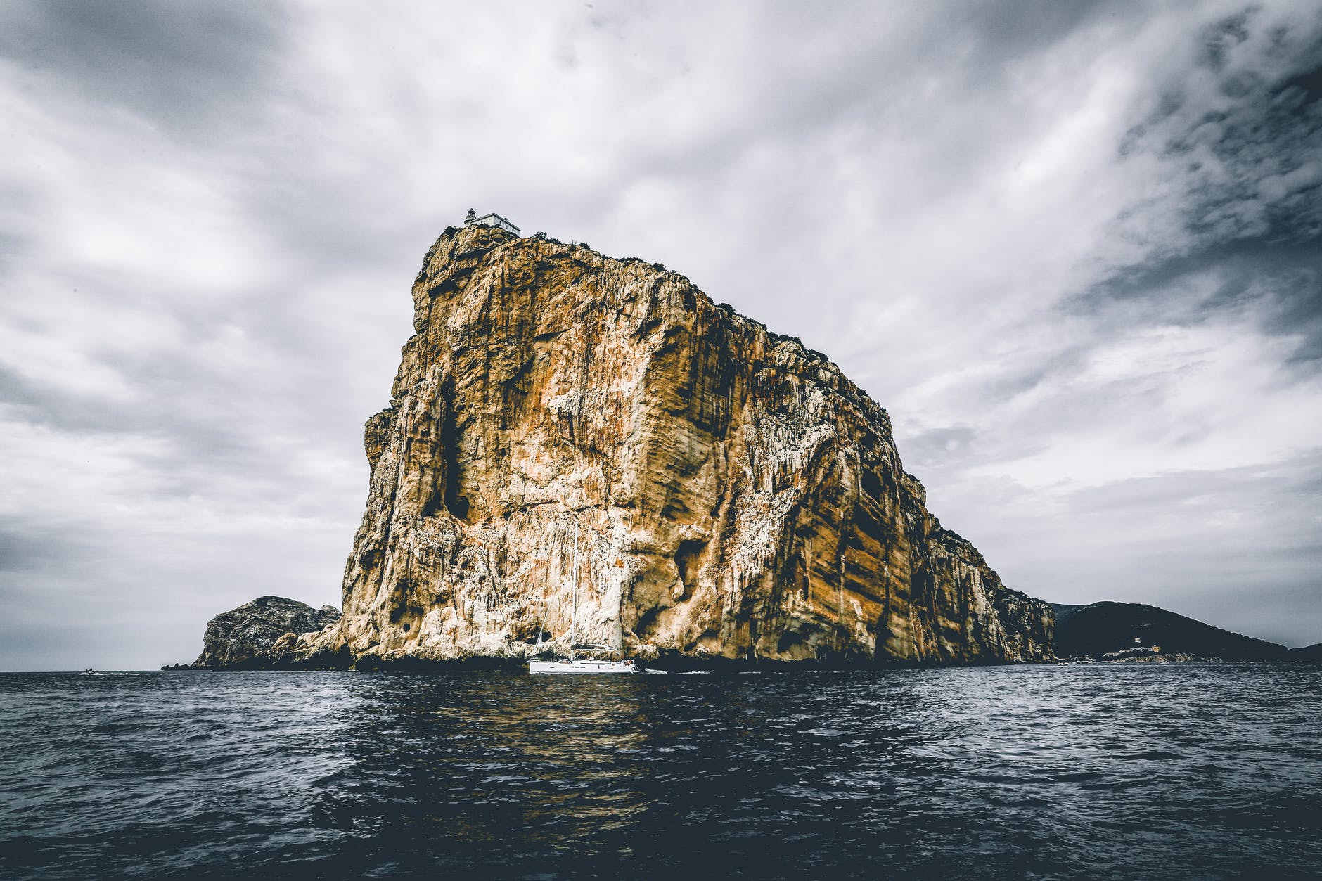 landscape photography of gray rock formation
