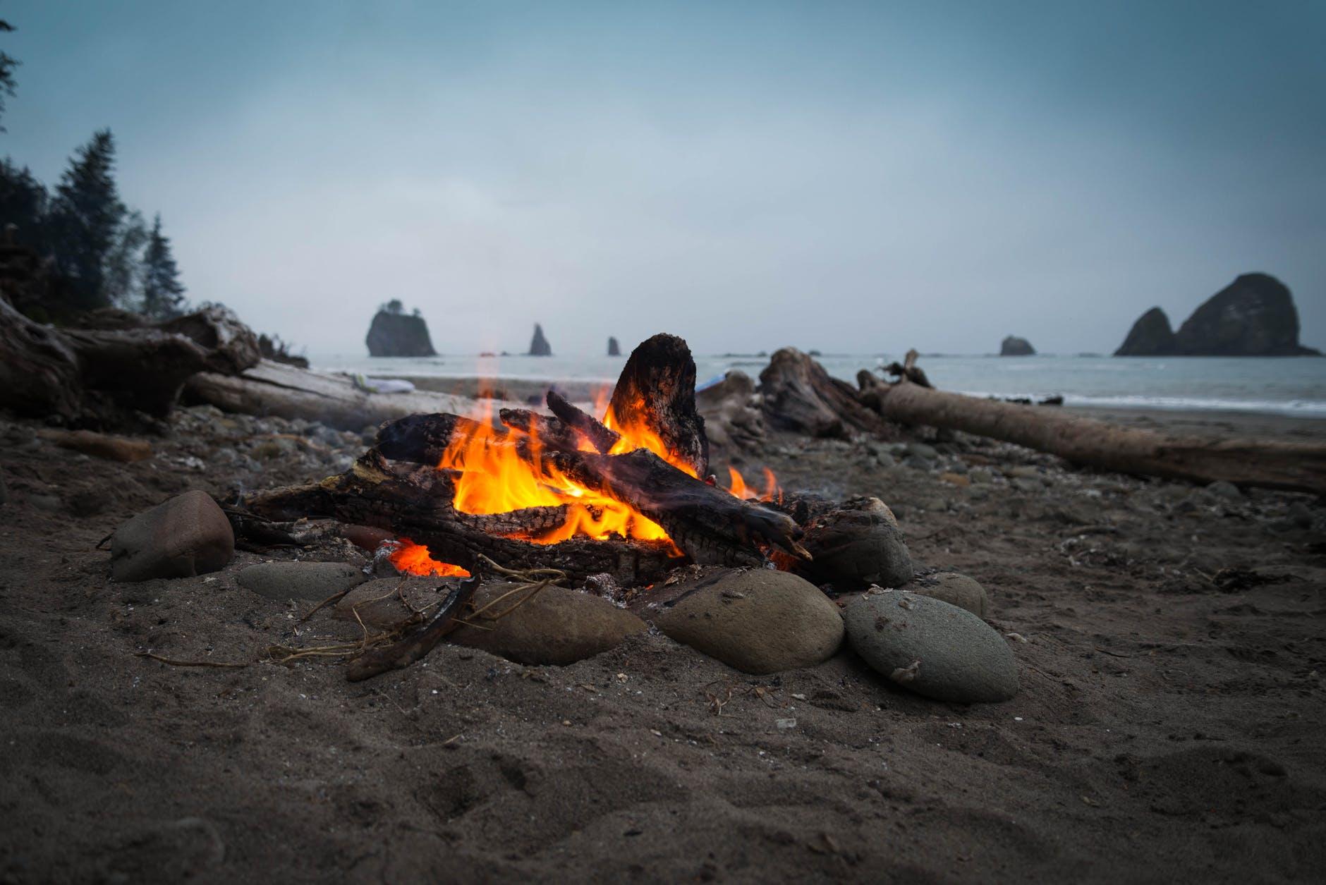 ash beach bonfire campfire
