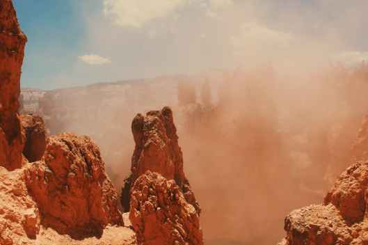 sand storm and rock formation