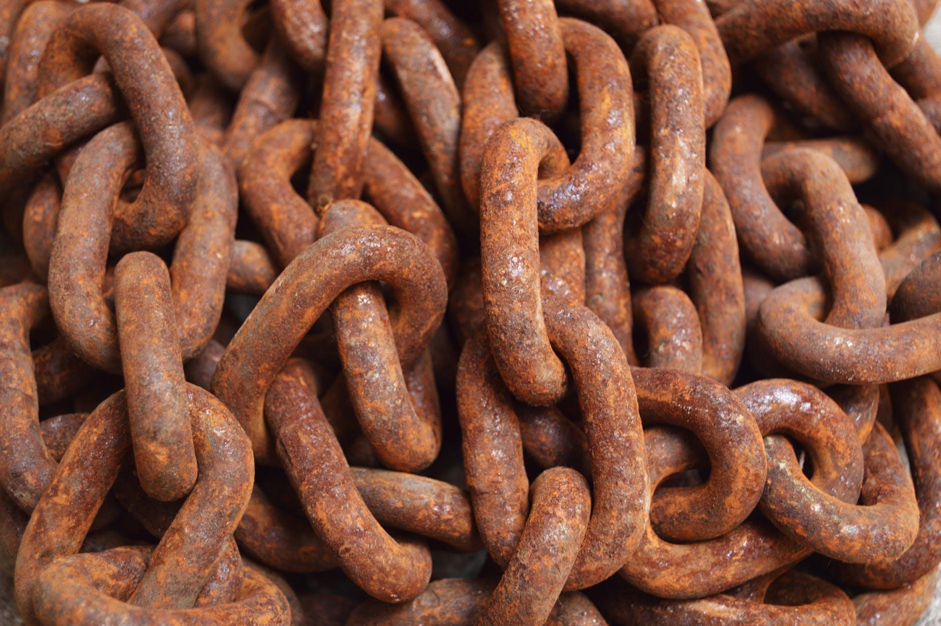 aged brown chain close