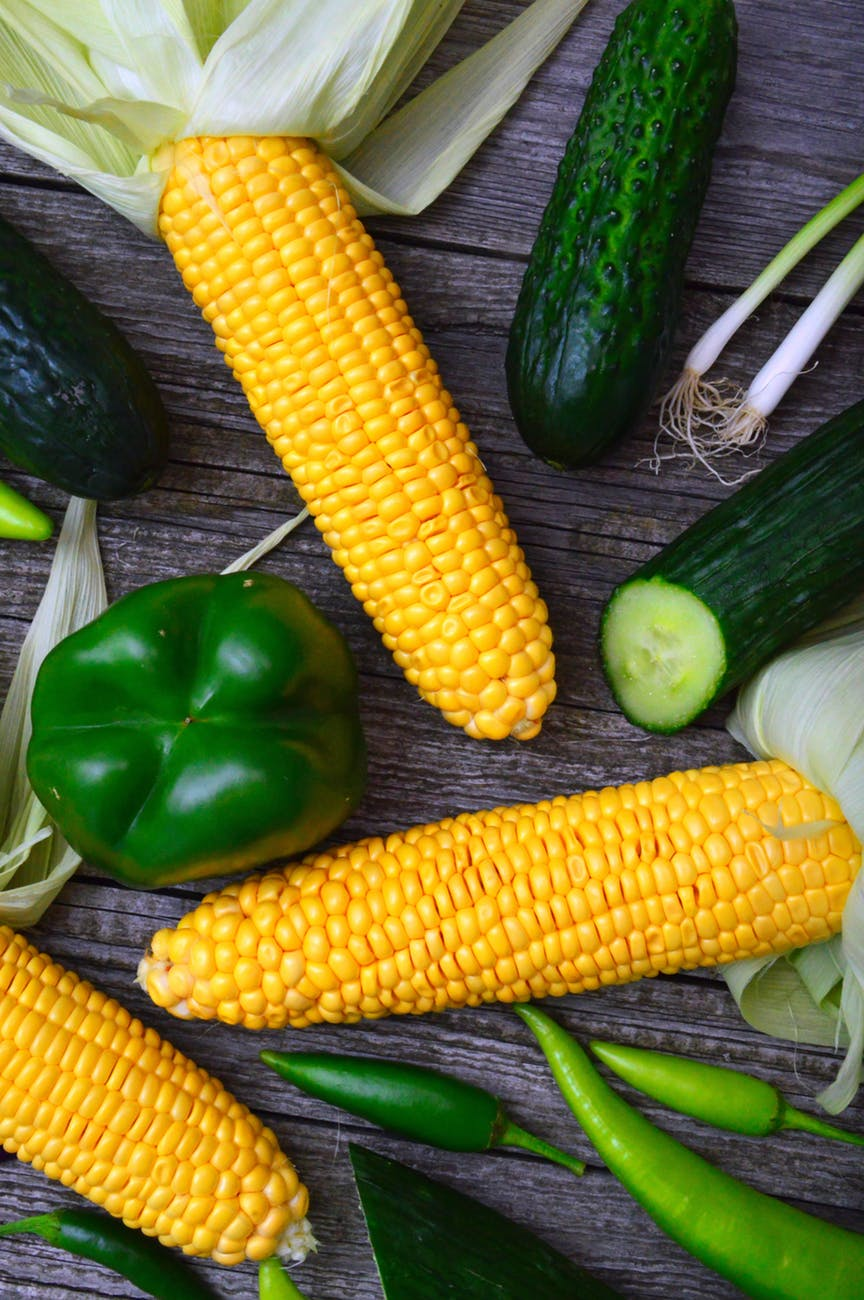 three yellow corn cobs bell pepper cucumbers and chili peppers