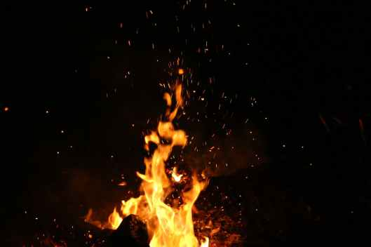 night fire burning sparks
