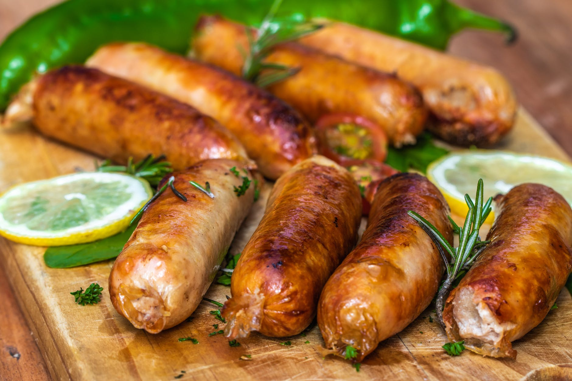 cooked sausages in close up view