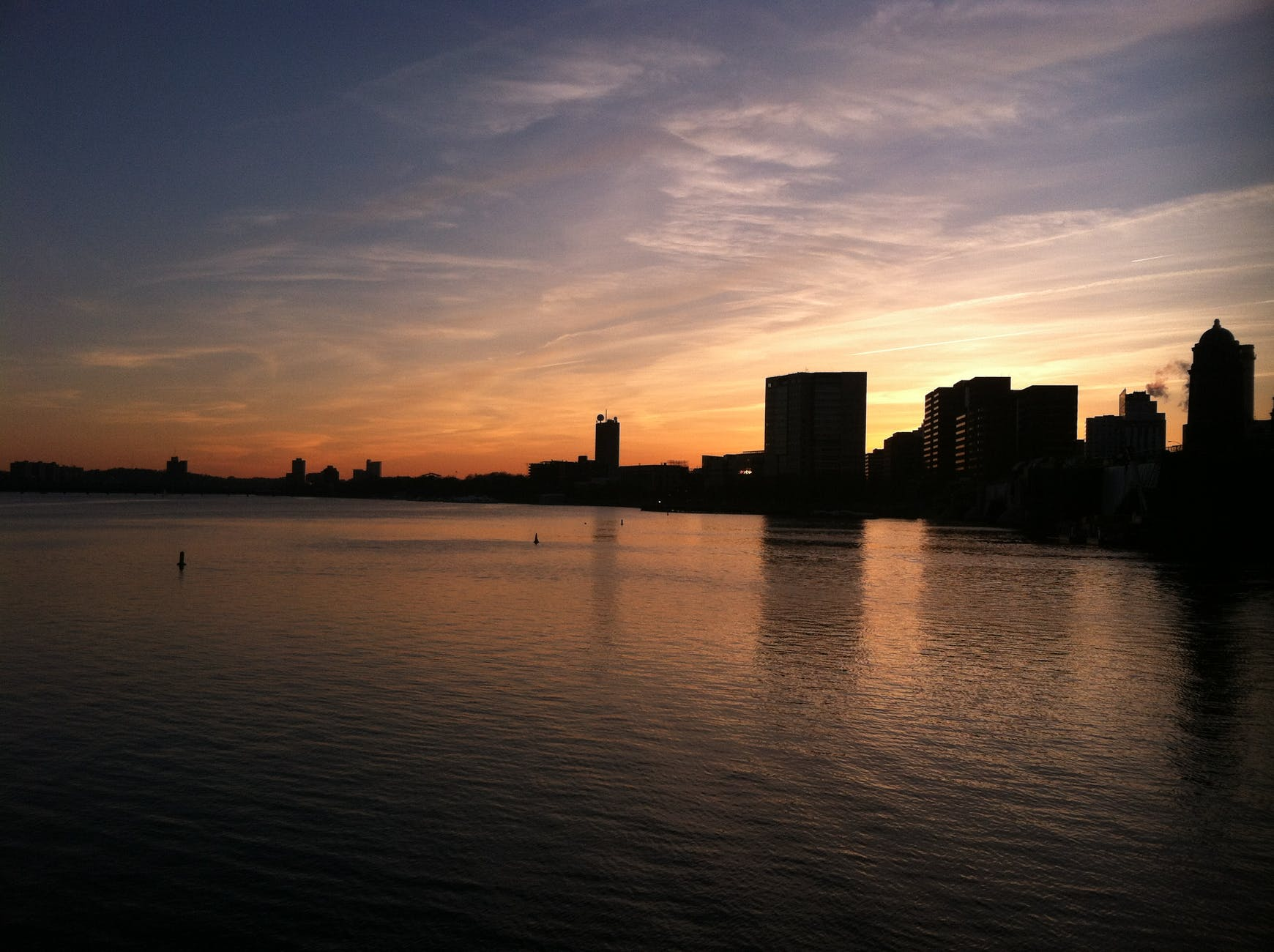 sunset skyline boston dusk